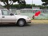 car blocking hydrand near tennis courts